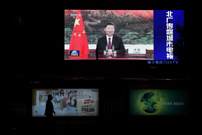 El discurso de Xi Jinping ante la ONU, difundido en pantalla gigante en Pekín el 22 de septiembre de 2020