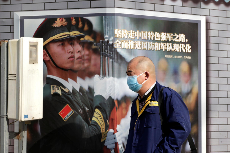 2020年2月3日,新冠病毒疫情威脅下的北京金融街景象。