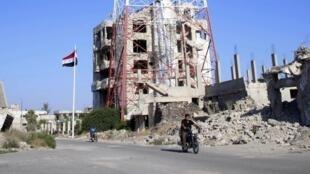 Cảnh thành phố Daraa, hoang tàn sau khi quân chính phủ Syria chiếm lại ngày 12/07/2018. Cuộc chiến tranh Syr.a đã kéo dài hơn 7 năm