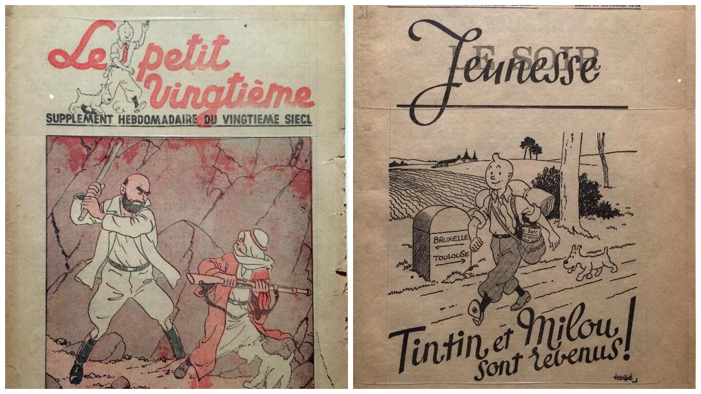 Bìa hai tạp chí Le Petit Vingtième và Le Soir Jeunesse.