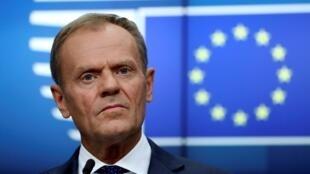 Chủ tịch Hội Đồng Châu Âu Donald Tusk trong cuộc họp báo tại Bruxelles, Bỉ, ngày 28/05/2019