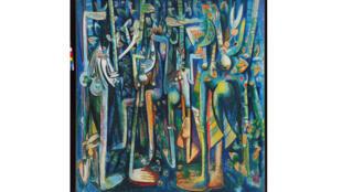 La Jungla, 1943. Oeuvre de Wifredo Lam. Huile sur papier marouflé sur toile. 239,4 x 229,9 cm. The Museum of Modern Art, New York, 2015. Digital Image, The Museum of Modern Art, New York/Scala, Florence.