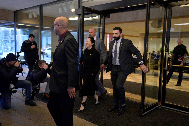 孟晚舟走出庭审法庭 2020年1月21日,渥太华.