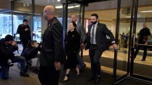 孟晚舟走出庭審法庭 2020年1月21日,渥太華.