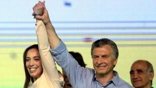 Mauricio Macri da kuma gwamnan birnin Buenos Aires Maria Eugenia Vidal na murnar nasarar da suka sama a zaben 22 ga watan oktoban 2017.