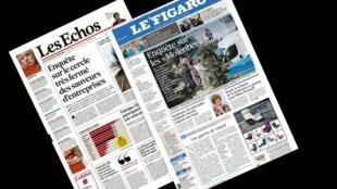 Capa dos jornais franceses Les Echos e Le Figaro desta quarta-feira, 30 de março de 2016.