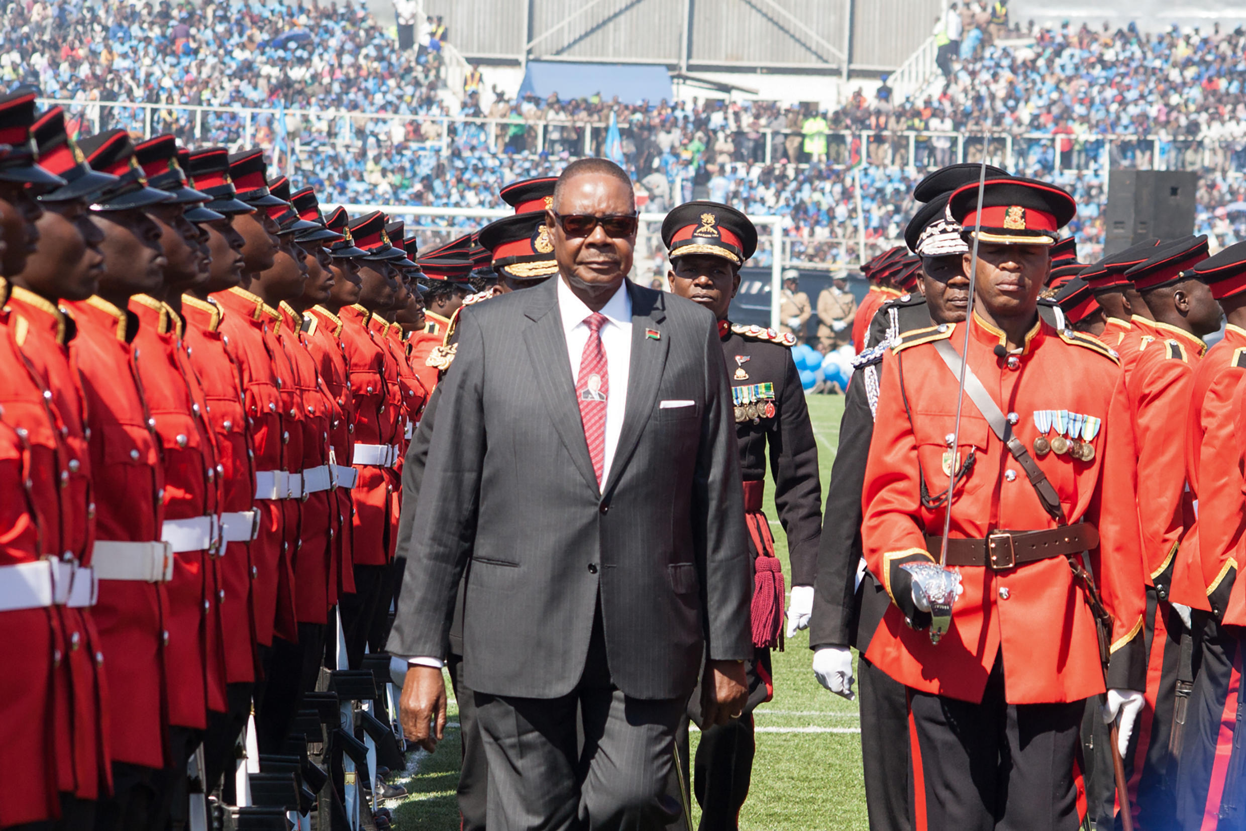 Current Malawi President Peter Mutharika in May 2019 at Kamuzu Stadium in Blantyre, where Malaians returning from South Africa were housed before they fled.