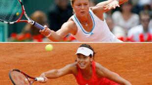 Dinara Safina da Ana Ivanovic a wassar  Roland-Garros ta 2008.