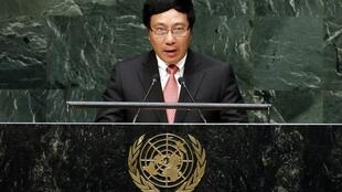 Ngoại trưởng Việt Nam Phạm Bình Minh phát biểu trước Đại Hội Đồng Liên Hiệp Quốc, ngày 27/09/2014.