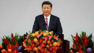 Chủ tịch Trung Quốc Tập Cận Bình đọc diễn văn tại lễ kỷ niệm 20 năm ngày Hồng Kông được trao trả về Trung Quốc. Hồng Kông, ngày 01/07/2017.