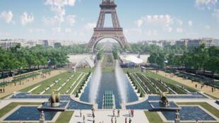 """Novo projeto na região da torre Eiffel que será o """"pulmão verde"""" de Paris."""