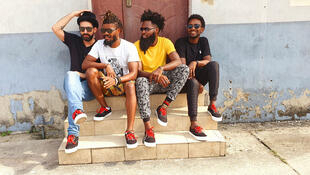 Jad, Adey, Stiques et Laughter, les membres du groupe nigérian Skata Vibration.