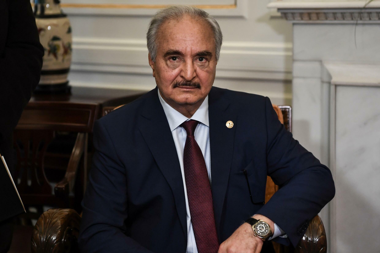 Libyan strongman Khalifa Haftar sits during talks in Athens on January 17, 2020