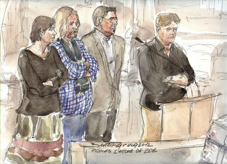 Marie-Agnes Peleran, Alain Peligat, Philippe van Winkelberg et Christophe Letien au premier jour du procès. Paris, le 3 décembre 2012.