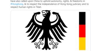 德國常駐聯合國代表團推特發表的39國聯合聲明資料圖片