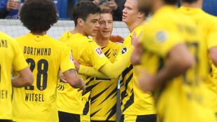 Marco Reus celebrates his match-winner with Erling Braut Haaland