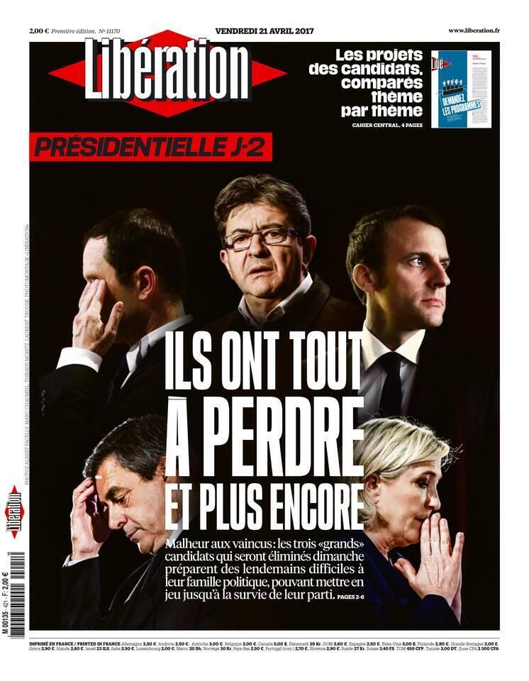 """صفحه اول روزنامه""""لیبراسیون""""، جمعه ٢١ آوریل ٢٠۱٧"""