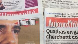 Primeiras páginas dos diários franceses de 4/10/2014