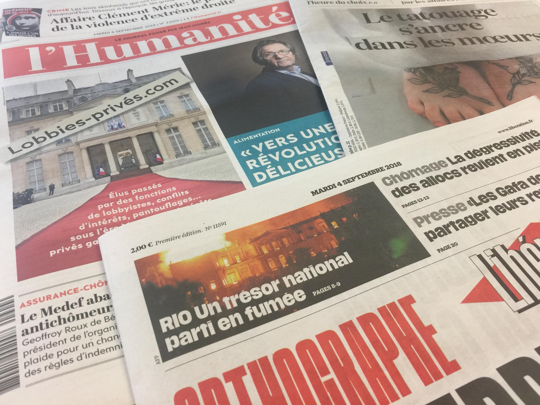 Primeiras paáginas dos jornais de 04/09/2018