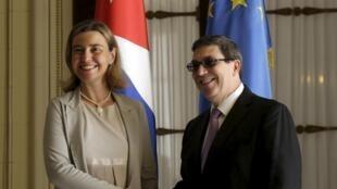 La alta representante de la UE para Asuntos Esteriores, Federica Mogherini y el ministro de Relaciones Internacionales de Cuba, Bruno Rodriguez, en marzo pasado en La Habana.