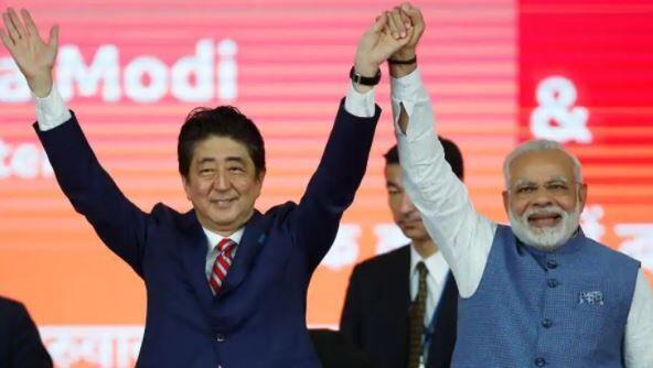 日本首相安倍晉三與印度總理莫迪資料圖片