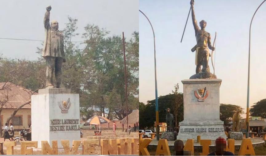 L'une des statues que Congo Aconde a construites à Kamina, la capitale de la province de Haut-Lomami, représente l'ancien président Laurent-Désiré Kabila (photo de gauche), et l'autre représente un chef des Luba, un groupe ethnique (photo de droite).