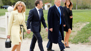 Donald Trump and his wife Melania with Emmanuel and Brigitte Macron