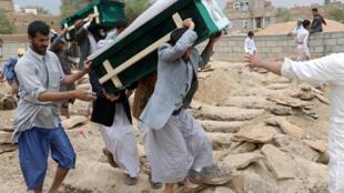 تشییع جنازه کشته شدگان در بمباران یک اتوبوس توسط نیروی هوایی ائتلاف به رهبری عربستان سعودی، ١۳ اوت ٢۰١٨
