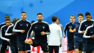 L'équipe de France à Saint-Pétersbourg, le 10 juillet 2018.