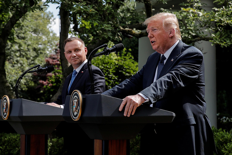Rais Donald Trump alimpokea mwenzake wa Poland Andrzej Duda katika Ikulu ya White House. Juni 24, 2020.