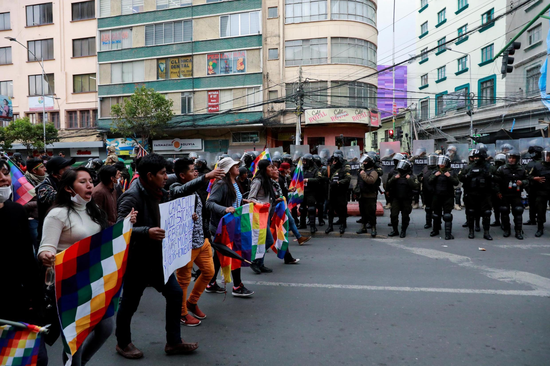 Những người ủng hộ cựu tổng thống Bolivia Evo Morales biểu tình tại thủ đô La Paz, ngày 14/11/2019.