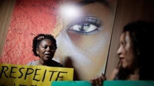 Manifestation le 29 novembre à Brasilia contre la nomination de Sérgio Nascimento de Camargo à la tête de la Fondation Palmares. Les manifestants protestent contre ses déclarations minimisant le racisme au Brésil.