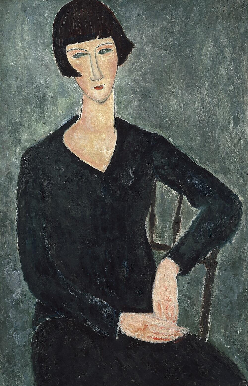 Amedeo Modigliani, Mujer sentada con vestido azul1918-1919. 92 x 60 cm. Moderna Museet, Stockholm. Donativo de Oscar Stern, 1951.