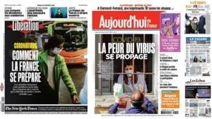 A imprensa francesa registra a atmosfera de medo que começa a tomar conta da França com a epidemia de coronavírus no norte da Itália.