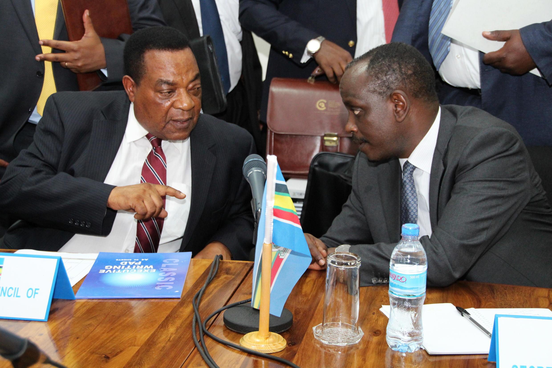 Le ministre des Affaires étrangères tanzanien, Augustine Mahiga, et le secrétaire général de la Communauté d'Afrique de l'Est Richard Seziber lors d'une discussion sur des pourparlers burundais, à Arusha, le 6 juillet 2016.