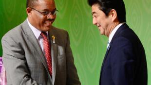 Thủ tướng Nhật Shinzo Abe (P) bắt tay đồng nhiệm Ethiopia Hailemariam Desalegn, tại Hội Nghị Quốc Tế Về Phát Triển Châu Phi, Tokyo, ngfay 03/06/2013