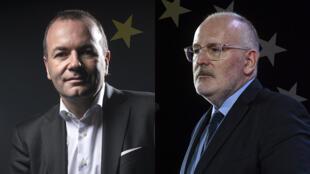 «مانفرد وِبِر»، نامزد «حزب مردم اروپا» ( سمت چپ) و «فرانس تیمرمانس» (سمت راست) نامزد حزب سوسیالیست اروپا نامزد ریاست کمیسیون اروپا هستند.