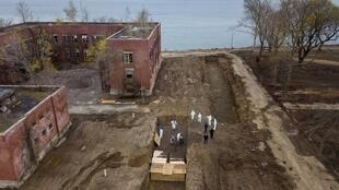 Drone pictures show bodies being buried on New York's Hart Island amid the coronavirus disease (Covid-19) outbreak in New York City.