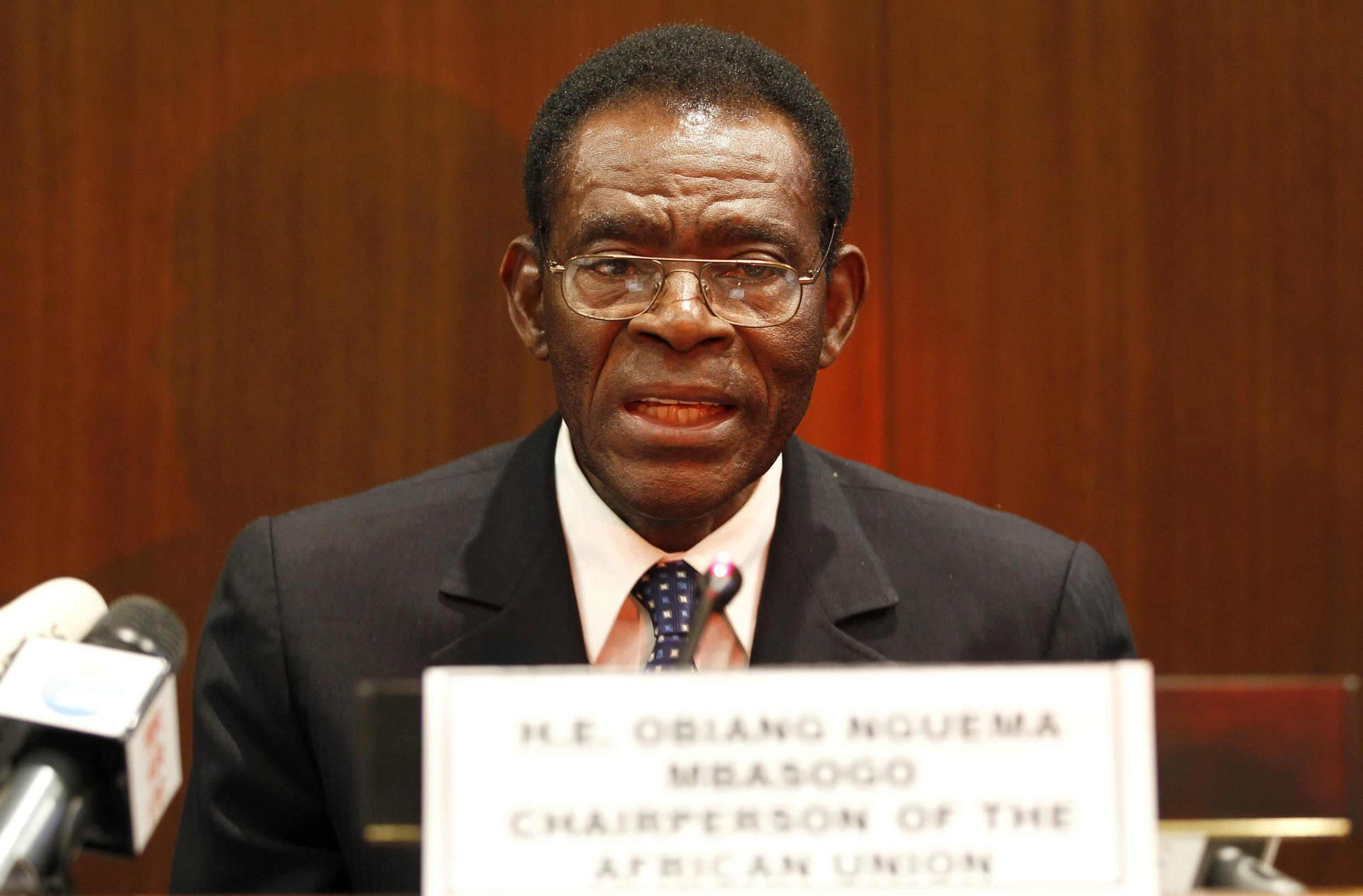 Teodoro Obiang Nguema , Equatorial Guinea's President and new African Union Chairman, at the end of the summit in Addis Ababa