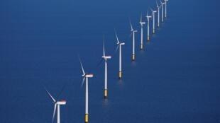 Le parc éolien marin de Walney Extension au large des côtes de Blackpool, en Grande-Bretagne, le 5 septembre 2018.