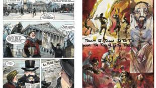 Détails de deux planches issues de la BD « Le rapport Brazza », récit de Tristan Thil, dessin de Vincent Bailly.