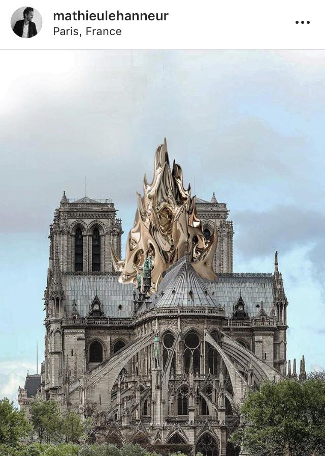 No lugar da agulha, arquiteto Mathieu Lehanneur imaginou uma imensa flama de metal.