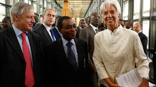 Bank of France president Christian Noyer (L) with West Africa's Charles Koffi Diby and Finance Minister Christine Lagarde