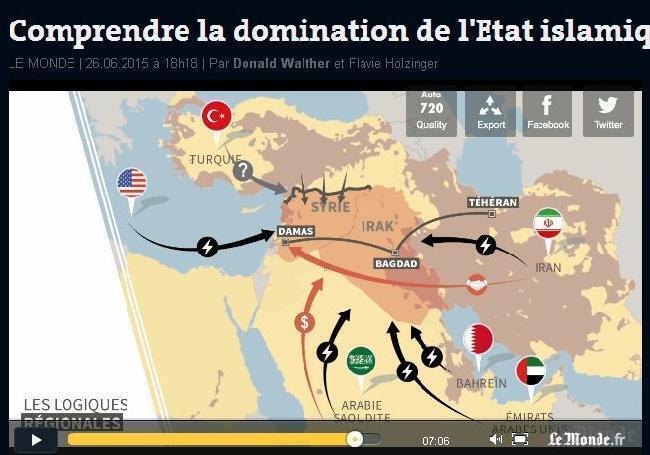 Các trận tuyến chống tổ chức Nhà nước Hồi giáo tại Trung Cận Đông. Ảnh chụp màn hình một chương trình giới thiệu của Le Monde.
