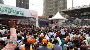 Congrès inaugural du RHDP à Abidjan, le Congrès du Rassemblement des houphouëtistes pour la démocratie et la paix, au stade Houphouët-Boigny le 26 janvier 2018.