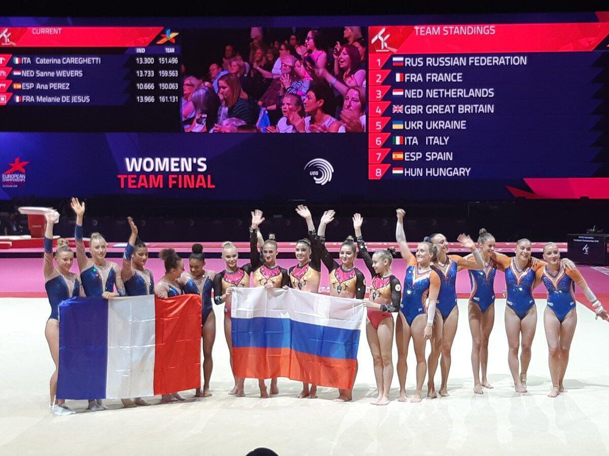 Российские гимнастки стали чемпионками Европы, француженки —  вторые.