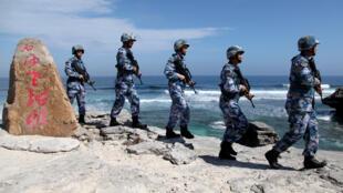 西沙群島中國軍隊巡邏照