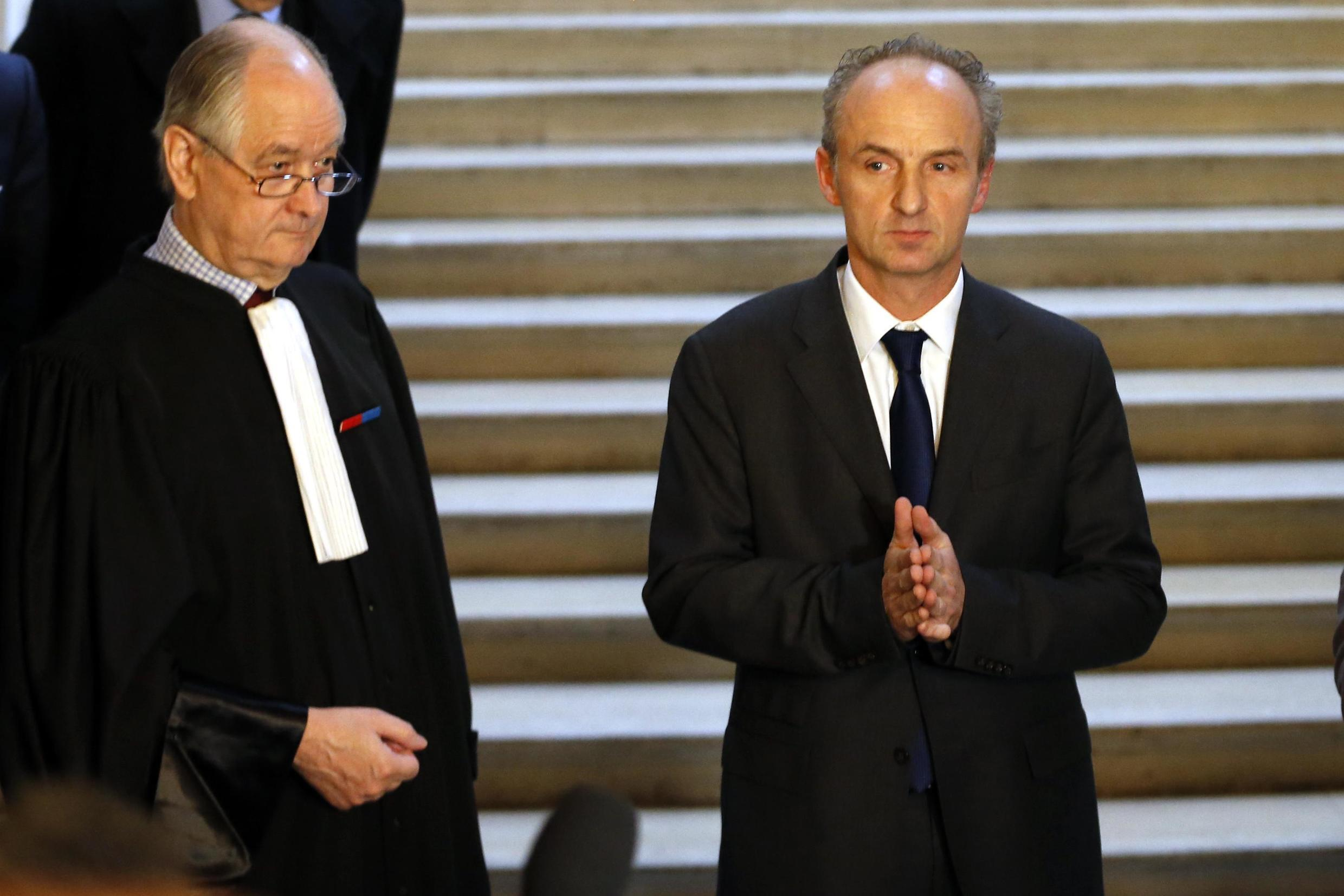 Doctor Eric Kariger (R), Chief of Palliative Medicine at the Reims CHU hospital, speaks to journalists about the case of Vincent Lambert, Paris, 13 February