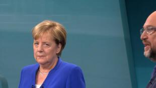 Copie d'écran du débat télévisé entre Angela Merkel et Martin Schulz, le 3 septembre 2017.