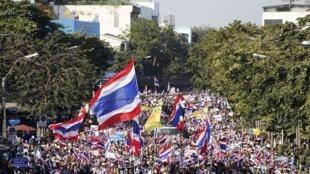 A nova onda de protestos contra o governo na Tailândia teve início nesta segunda-feira (13) contra o governo na Tailândia.
